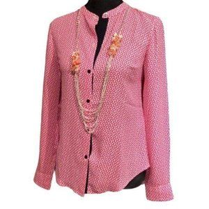 Nautica Button Down Blouse Pink White Patterned XS